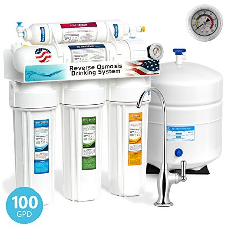 Undersink Reverse Osmosis - Express Water 5 Stage Under Sink Reverse Osmosis Filtration System 100 GPD RO Membrane Filter Deluxe Faucet Pressure Gauge - Ultra Safe Residential Home Drinking Water Purification - One Year Warranty