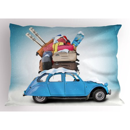 Winter Pillow Sham Traveling Themed Snowy Image Ski Baggage Items Blue Vintage Car Holiday Photograph, Decorative Standard Queen Size Printed Pillowcase, 30 X 20 Inches, Multicolor, by Ambesonne