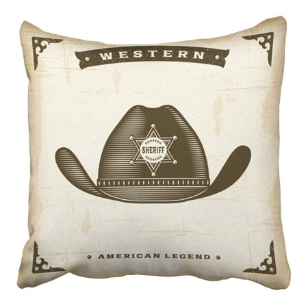 CMFUN Brown West Vintage Western Sheriff Hat Old Wild Letters Symbol Sign Badge Pillowcase Cushion Cover 16x16 - Old West Sign