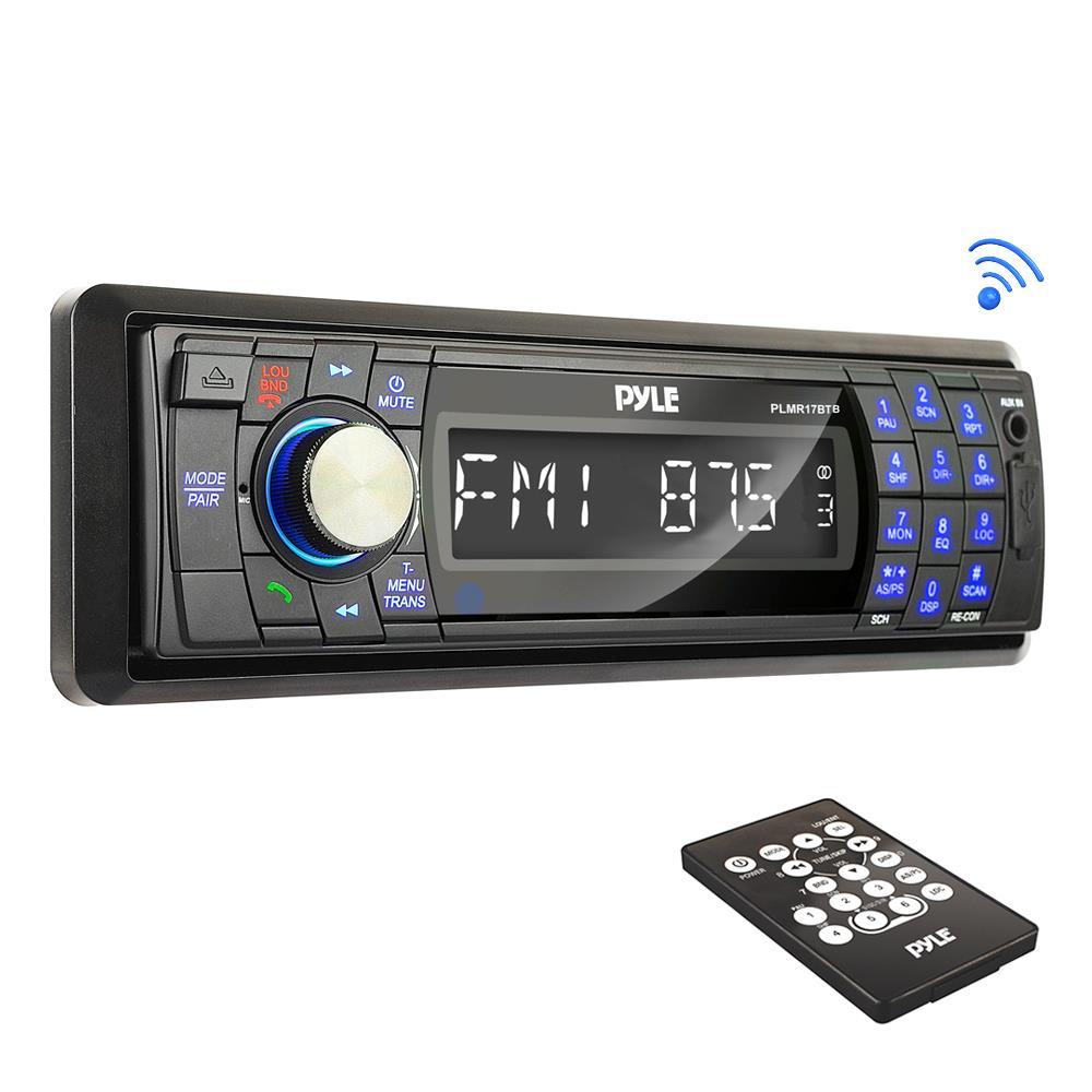 PYLE PLMR17BTB - Bluetooth Marine Stereo Radio - Waterproof/Weather proof Single DIN 12v Boat Receiver with Digital LCD, RCA, MP3 / USB Reader, AM FM Radio - Wiring Harness, Remote Control - (Black)