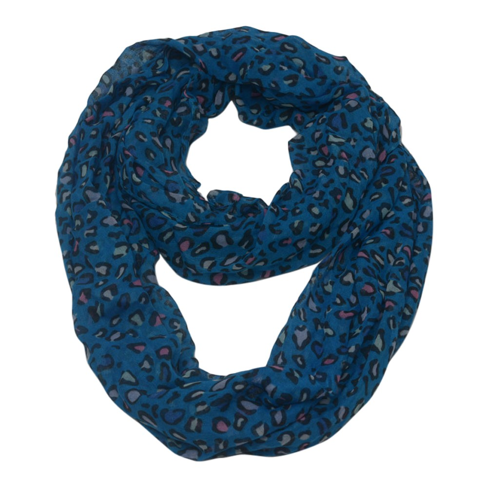 Chatties Girls Juniors Womens Blue Multi Color Leopard Infinity Scarf