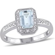 Tangelo 1 Carat T.G.W. Emerald-Cut Aquamarine and Diamond-Accent Sterling Silver Halo Ring