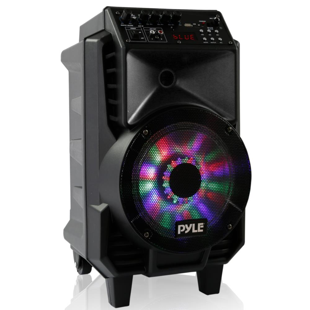 Pyle PPHP816WMU - Portable PA Speaker & Microphone System, Bluetooth Wireless Streaming, Built-in Rechargeable Battery, Dancing DJ Party Lights (Includes Wired & Headset Mics)