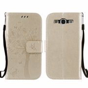 Galaxy S3 S III Case, Samsung Galaxy S3 Phone Cases, Allytech [Embossed Cat & Tree] PU Leather Wallet Case Folio Flip Kickstand Cover with Card Slots for Samsung Galaxy S3 III I9300, Gold