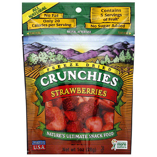 Crunchies Freeze Dried Strawberries, 1 oz (Pack of 6)