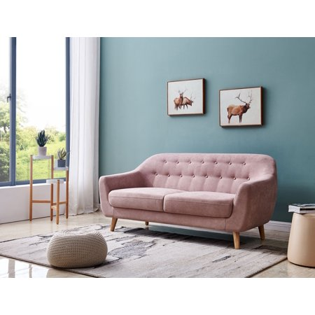 Merax Contemporary Linen Fabric Sofa with Wood Legs for Living Room, Button Tufted