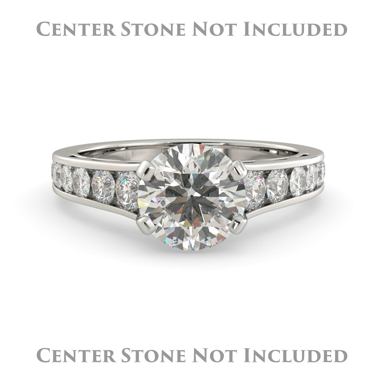 J&H Cushion Graduated Semi Mount Diamond Pave Engagement ...