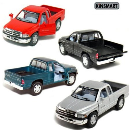 """Set of 4: 5"""" Dodge Ram Pickup Truck 1:44 Scale (Black/Green/Red/Silver)"""