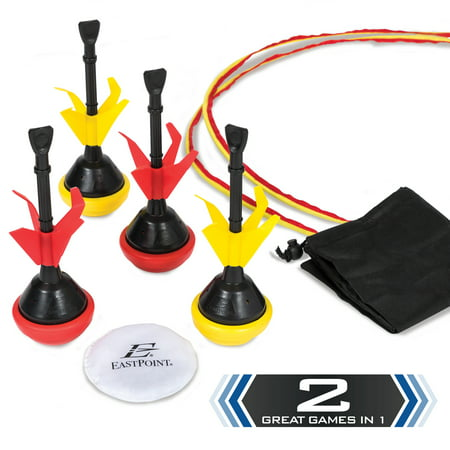 EastPoint Sports 2 in 1 Lawn Darts and Bocce Combo Set; Includes 4 Soft-Tipped Lawn Darts, 1 Soft-Tipped Pallino Bean Bag, 2 All-Weather Target Rings and Carry Bag for Portability and Easy Storage