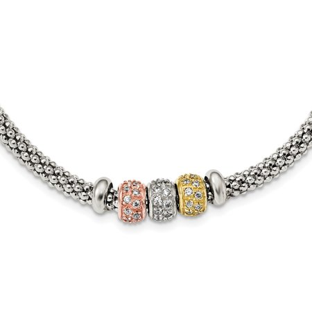 Tone Mesh Chain - Solid 925 Sterling Silver Rose And Yellow gold-tone Tone CZ Cubic Zirconia Beads Mesh Necklace Chain (4mm)