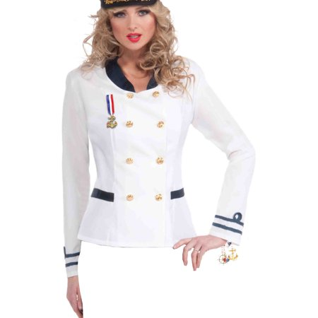 Womens 1-Size Lady In The Navy White Officer Uniform Costume Jacket - White Navy Uniform Costume