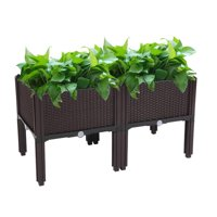 Deals on Zimtown Plastic Raised Garden Bed 2PCS Elevated Planter Box