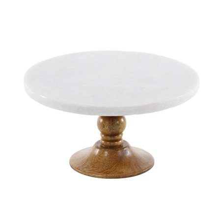 Decmode Modern 5 X 10 Inch Mango Wood And Marble Cake Stand, Brown, (Best Marble Pound Cake)