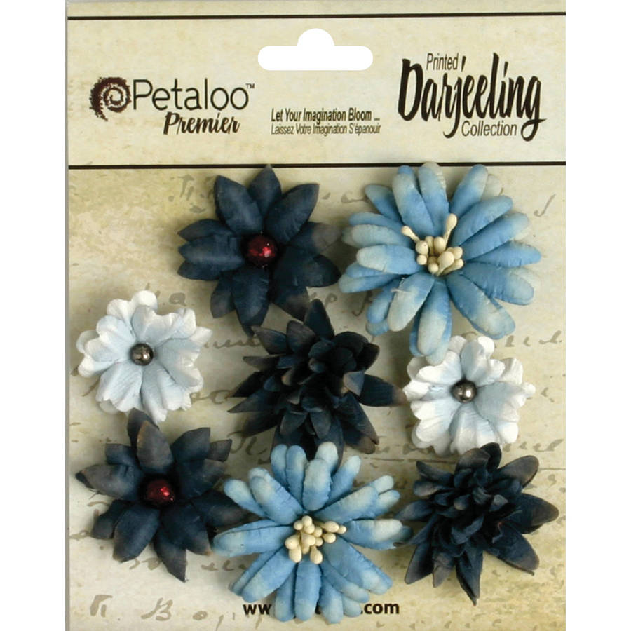 "Darjeeling Teastained Mini Mix Flowers, .75"" to 1.5"", 8pk"