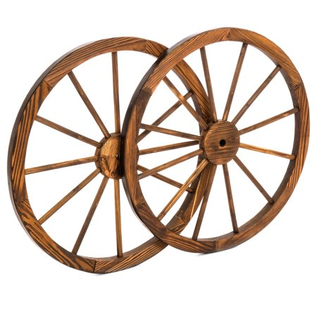Best Choice Products 30in Set of 2 Decorative Wall Accent Old Western Wooden Garden Wagon Wheel w/ Steel Rims, Stained Finish Decorative Wooden Wall Letters