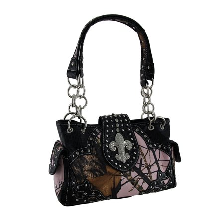 Zeckos - Pink Mossy Oak Camo Rhinestone Fleur De Lis Concealed Carry Handbag - Black - Size Medium