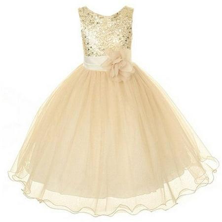 Kids Dream Little Girls 4 Gold Sequin Double Mesh Flower Girl Dress