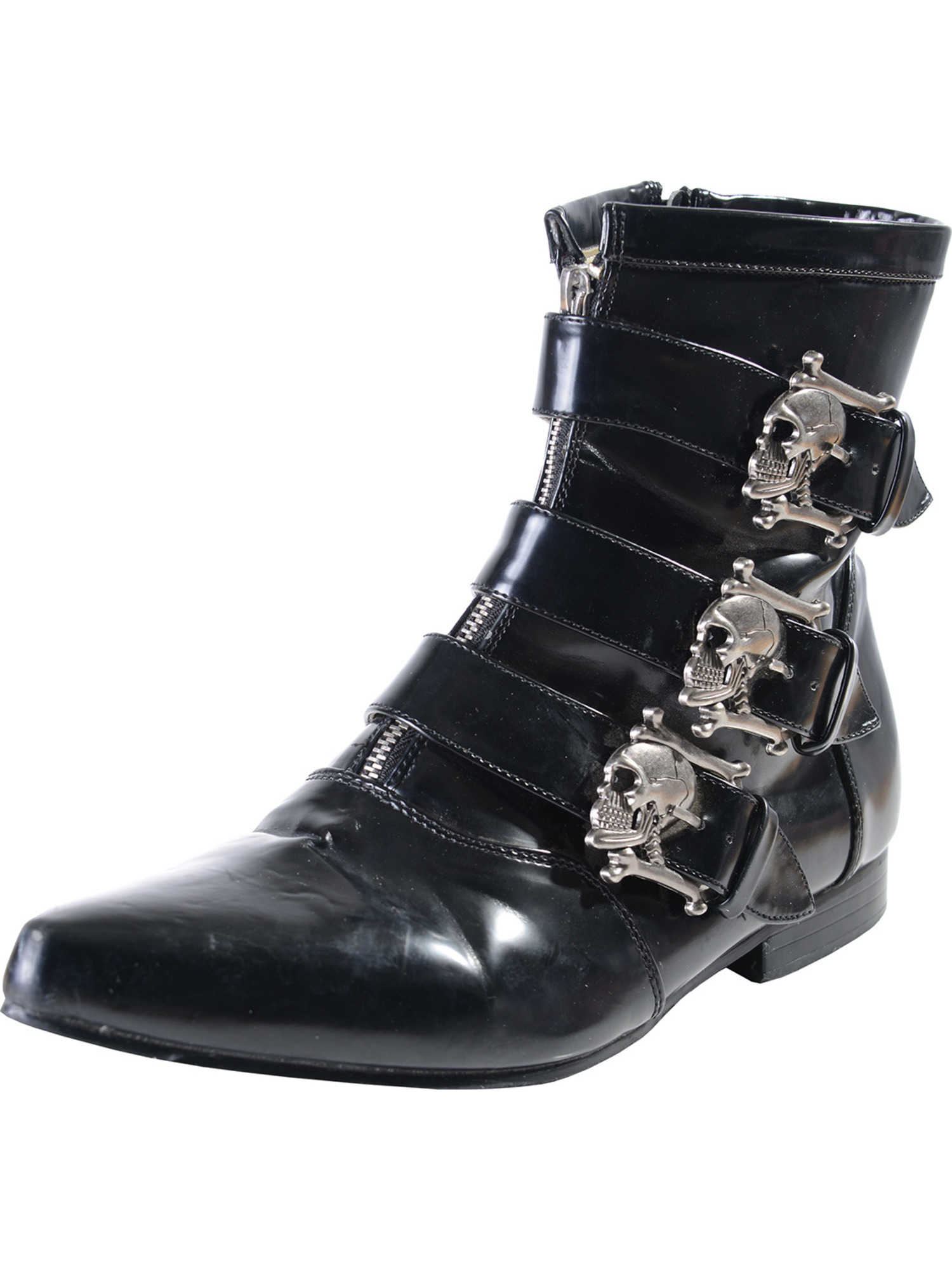 Mens Ankle Boot Skull Buckles GOTH style Black