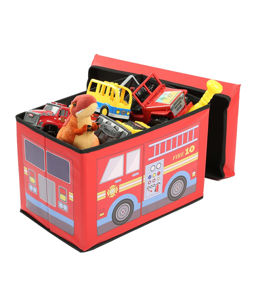 Superieur Fire Truck Toy Chest Bench U2013 Childrenu0027s Ottoman With Storage U2013 Soft Toy  Storage