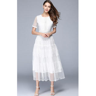 Women Long Length Elegant Look Party Wedding Dress White
