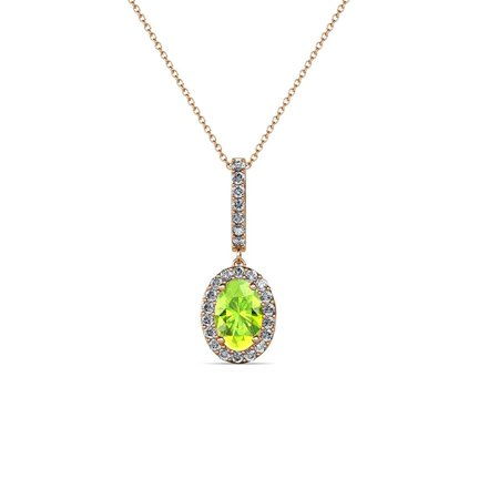 Petite Oval Green - Petite Oval Peridot and Diamond Halo Pendant 0.40 ct tw in 14K Rose Gold with 18 Inches 14K Gold Chain