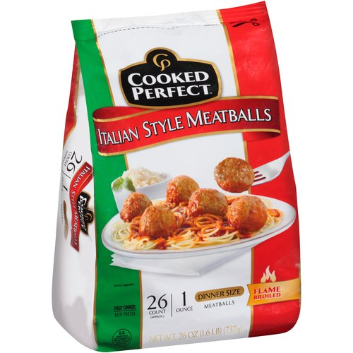 Cooked Perfect Italian Style Dinner Size Meatballs, 26 count, 26 oz