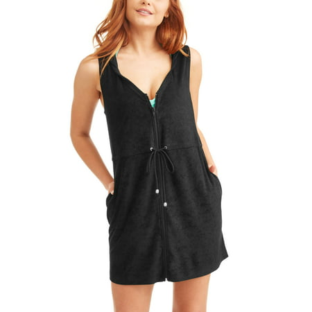 2074f727034 Time and Tru - Women s Zip-Front Hooded Terry Swim Cover-Up ...