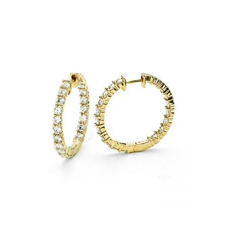 Bezel Moissanite Earrings (Forever Brilliant 2.5mm Round Cut Moissanite Hoop Earrings, 2.28cttw)