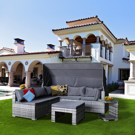 Magari Wicker Rattan Pool Patio Garden Cushions Grey