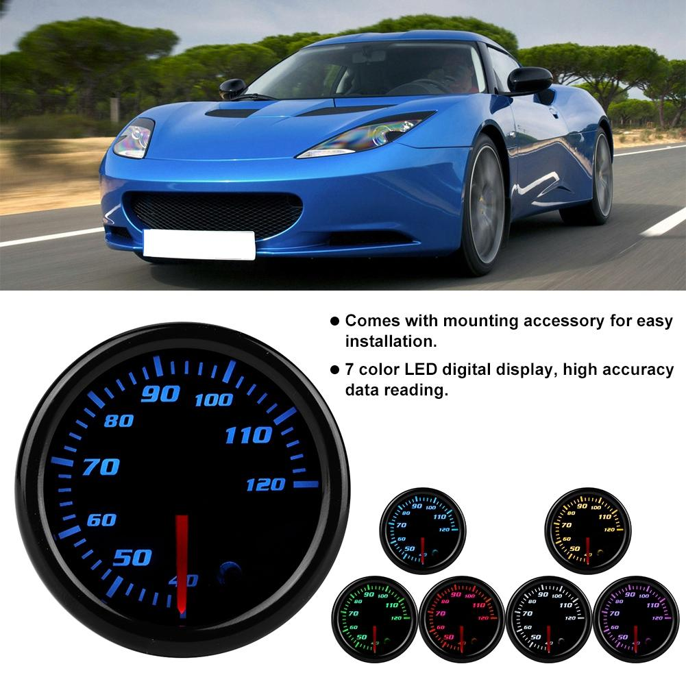 Diameter 2in//52mm Car Water Temperature Meter 40-120℃ Universal 7 Color LED Water Temp Meter 12V Auto Water Temp Gauge Car Vehicle Modification Accessory