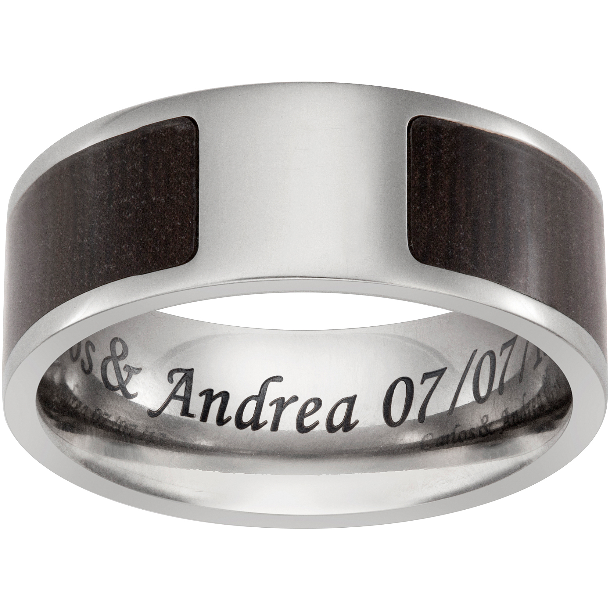 Personalized Men's Titanium and Dark Wood Engraved Message Flat Band