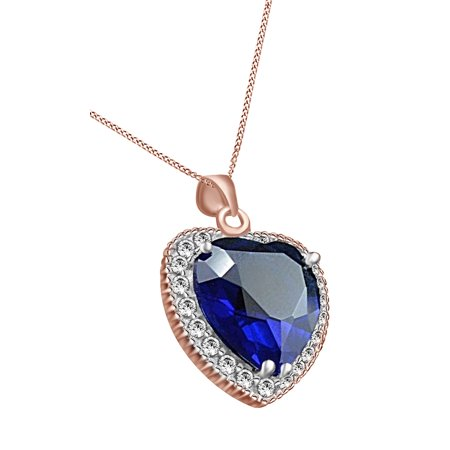 Titanic Heart Of The Ocean Simulated Blue Sapphire & Cubic Zirconia Pendant Necklace 14k Rose Gold Over Sterling Silver Blue Sapphire Gold Cross
