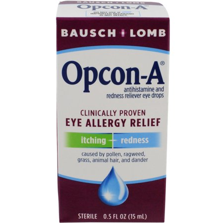 Allergy Relief Eye Drops (Bausch & Lomb Opcon-A Sterile Antihistamine and Redness Reliever Eye Drops, 0.5 fl oz )