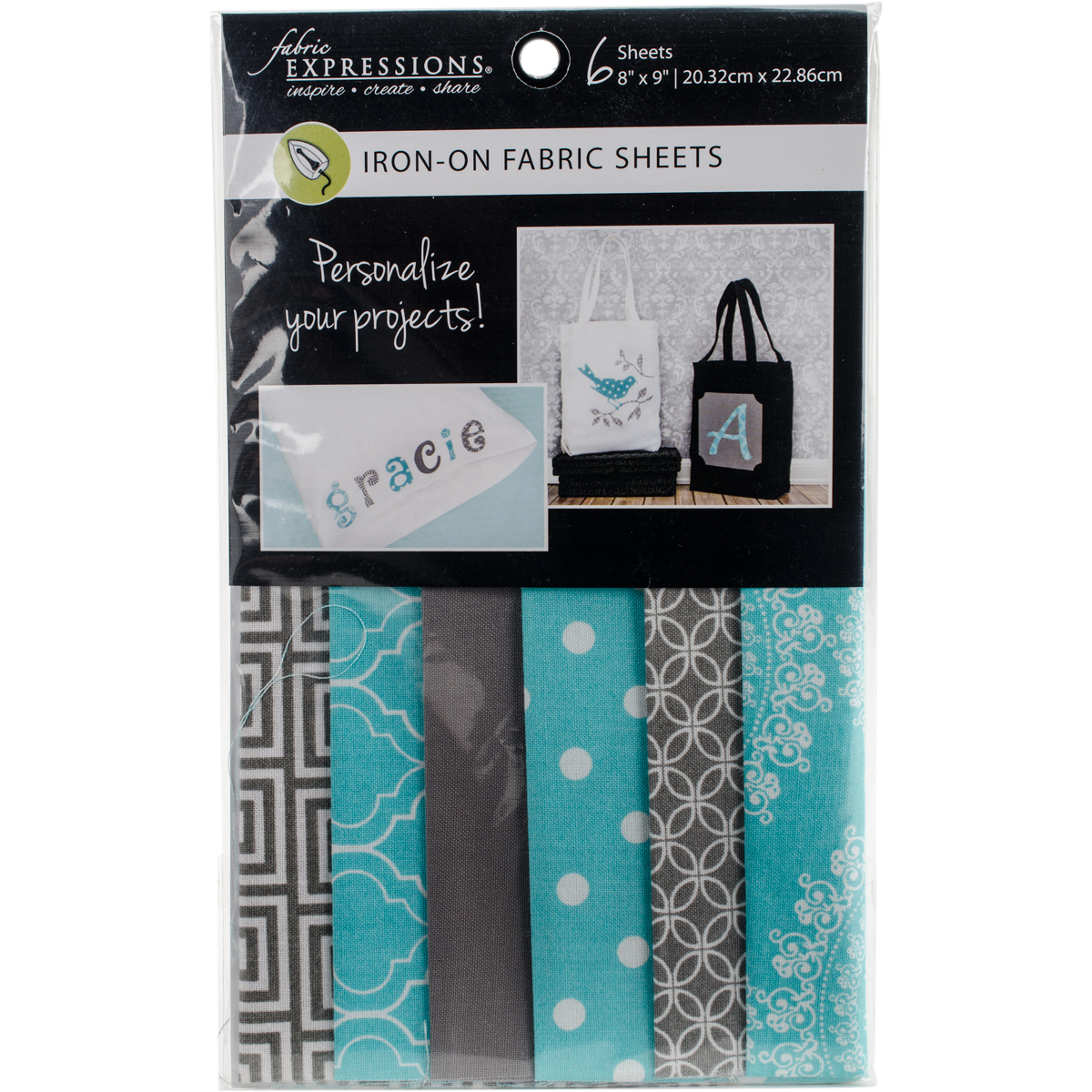 "Fabric Editions Fusible Sheets 8""X9"" 6/Pkg-Gray & Turquoise"