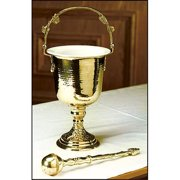 Christian Brands Church Supply MC479 Brass Hammered Holy Water Pot with Sprinkler Set