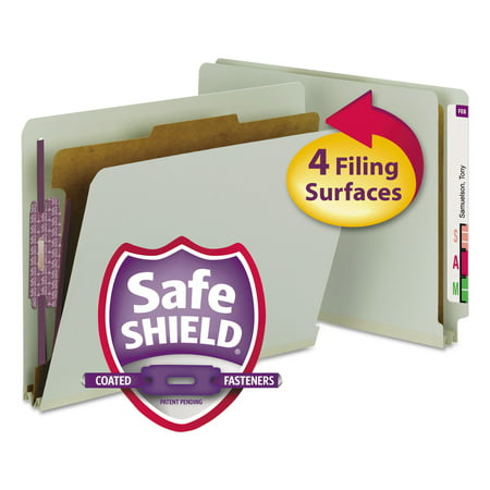 Smead Pressboard End Tab Classification Folder, Letter, 4-Section, Gray/Green, 10/Box -SMD26800 ()