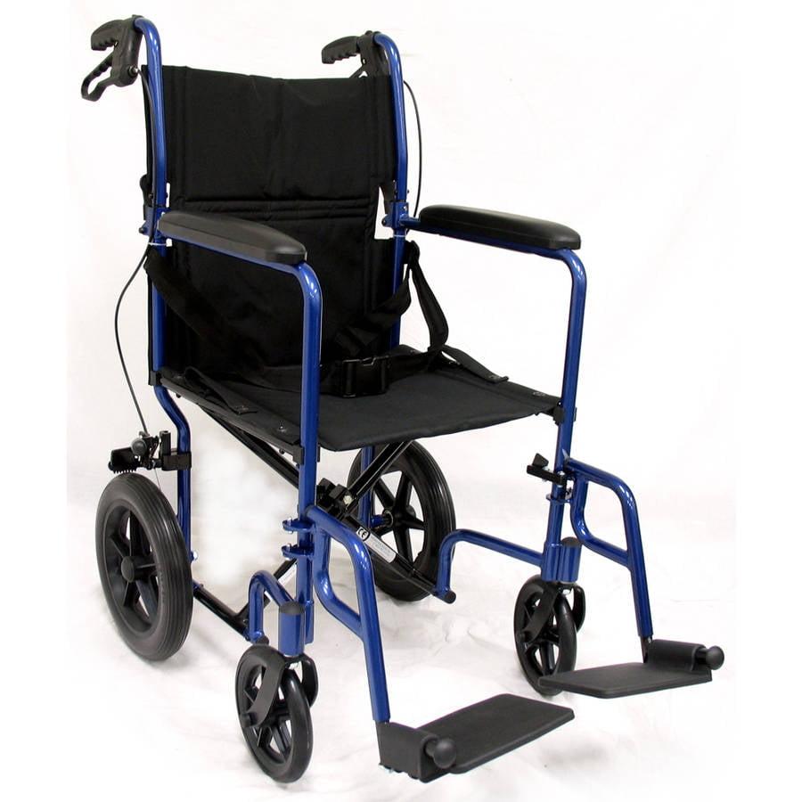 Karman LT-1000HB Lightweight Transport Chair with Companion Brakes, Blue