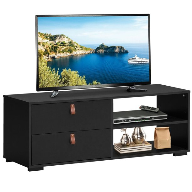 Gymax TV Stand Entertainment Media Center Console for TV's up to 55'' w/Drawers Black/Walnut