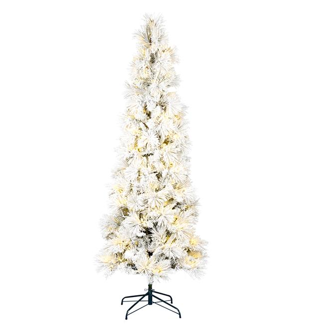 2 Ft White Christmas Tree: Vickerman K170986LED 10 Ft. X 50 In. Flocked Atka Pencil