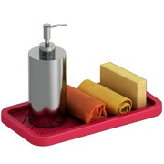 Comfify Kitchen Sink Caddy – Tray Organizer for Your Soap, Sponge, Scrubber & More – Multi-use Silicone Tray - Non-Slip, Heat Resistant and Dishwasher Safe – Red, Blue or Grey Dish Sponge