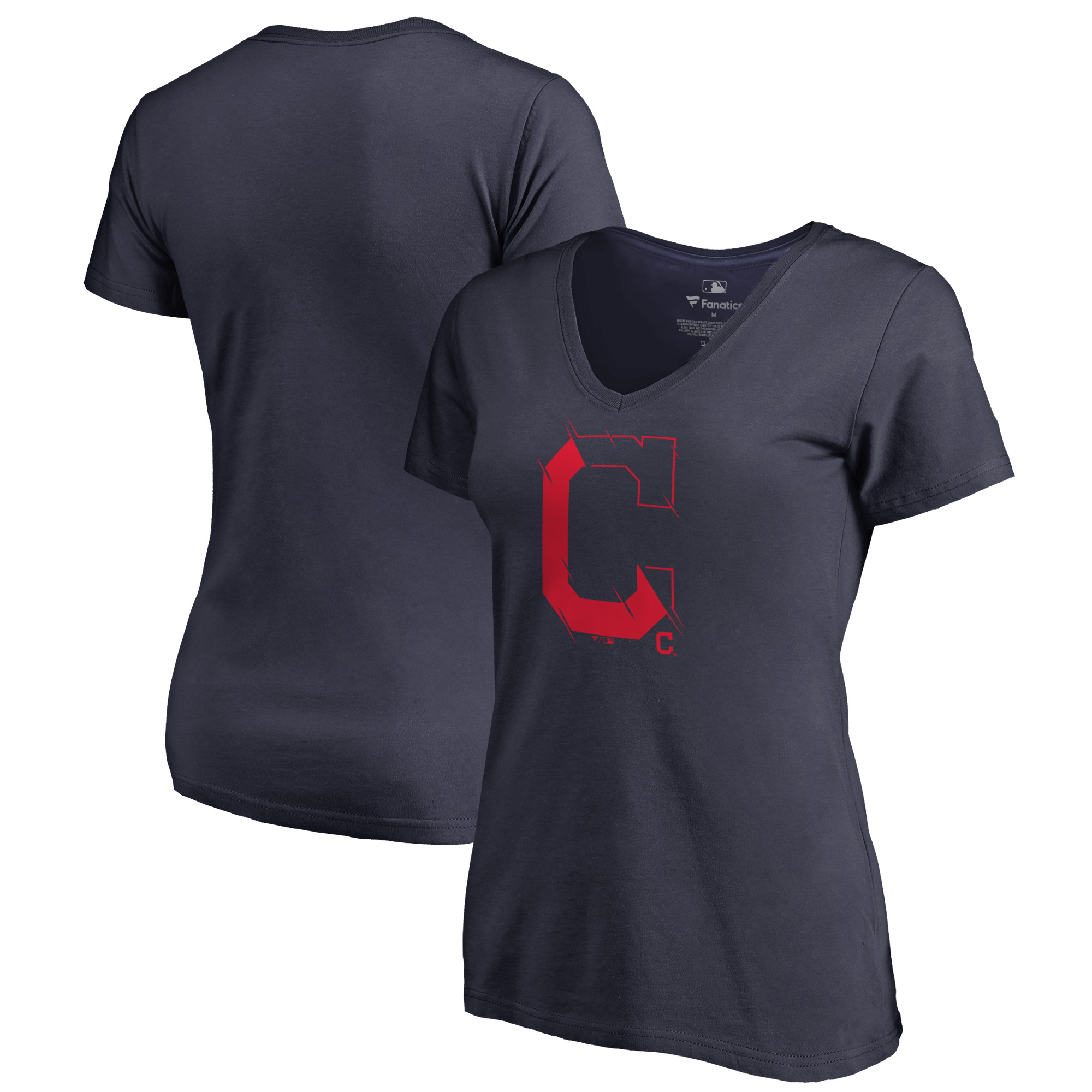 Cleveland Indians Fanatics Branded Women's X-Ray Plus Size V-Neck T-Shirt - Navy