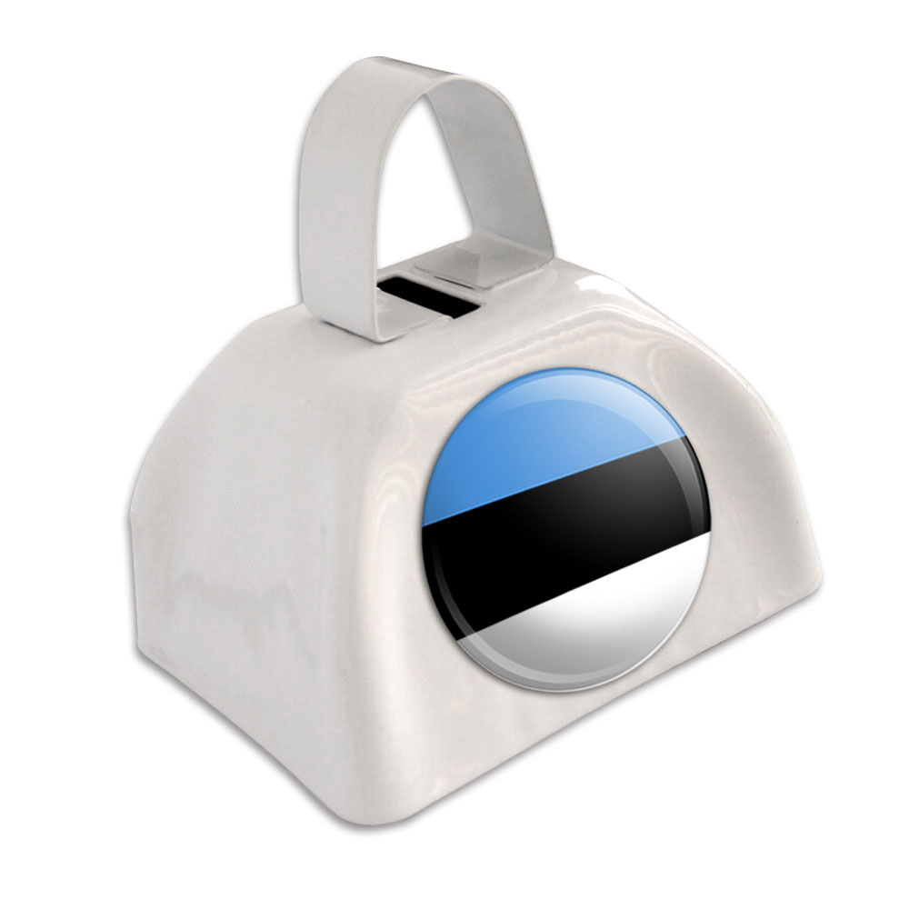 Estonia National Country Flag White Cowbell Cow Bell by Graphics and More
