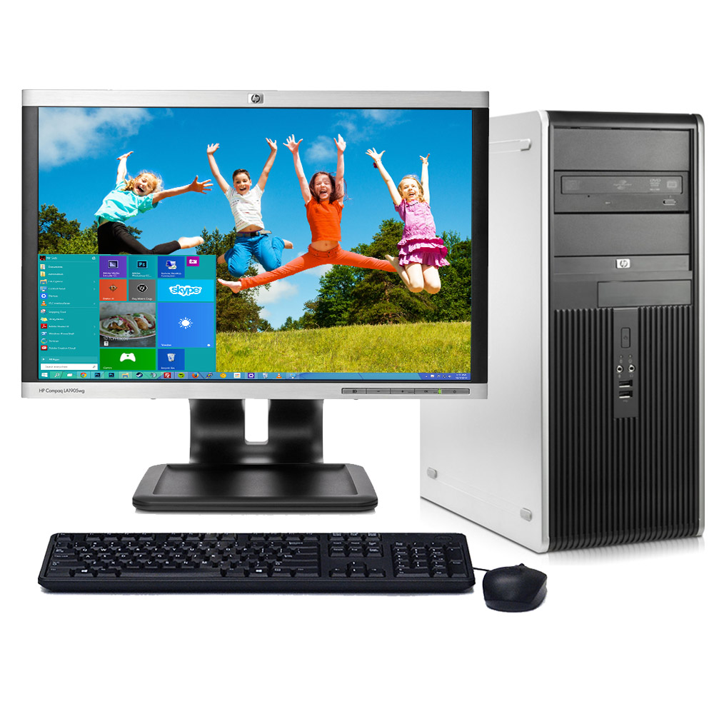 "HP Desktop Tower PC System Windows 10 Dual Core Processor 4GB Ram 80GB Hard Drive DVD Wifi with a 17"" LCD-Refurbished Computer with Extended Care 3 Year Warranty"