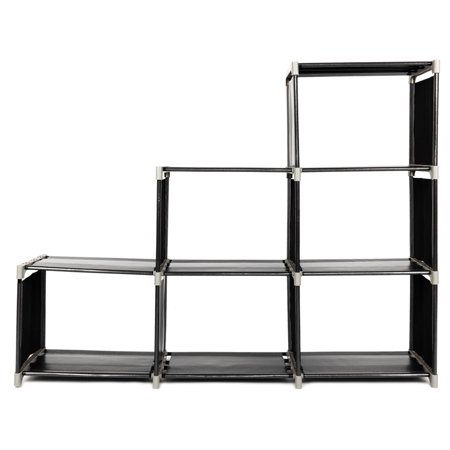 6 Cube 3-Tier Storage Organizer Shelves, Water-Proof Non-Woven Fabric Closet, Storage Cube Closet Organizer Shelf Cabinet Bookcase, for Bathroom, Kitchen, Bedroom, Living Room, Office, (Water Closet)