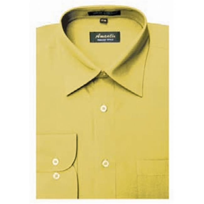 Amanti CL1019-15 1-2x32-33 Amanti Mens Wrinkle Free Mustard Dress Shirt - Mustard-15 1-2 x 32-33
