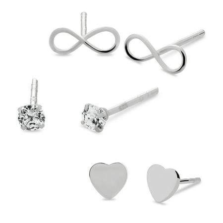 Flat Open Heart Earring - Sterling Silver Flat Heart, White Cubic Zirconia and Infinity Stud Earrings Set