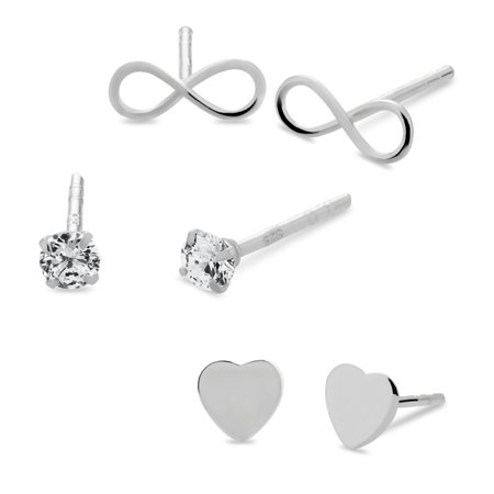 Sterling Silver Flat Heart, White Cubic Zirconia and Infinity Stud Earrings Set ()
