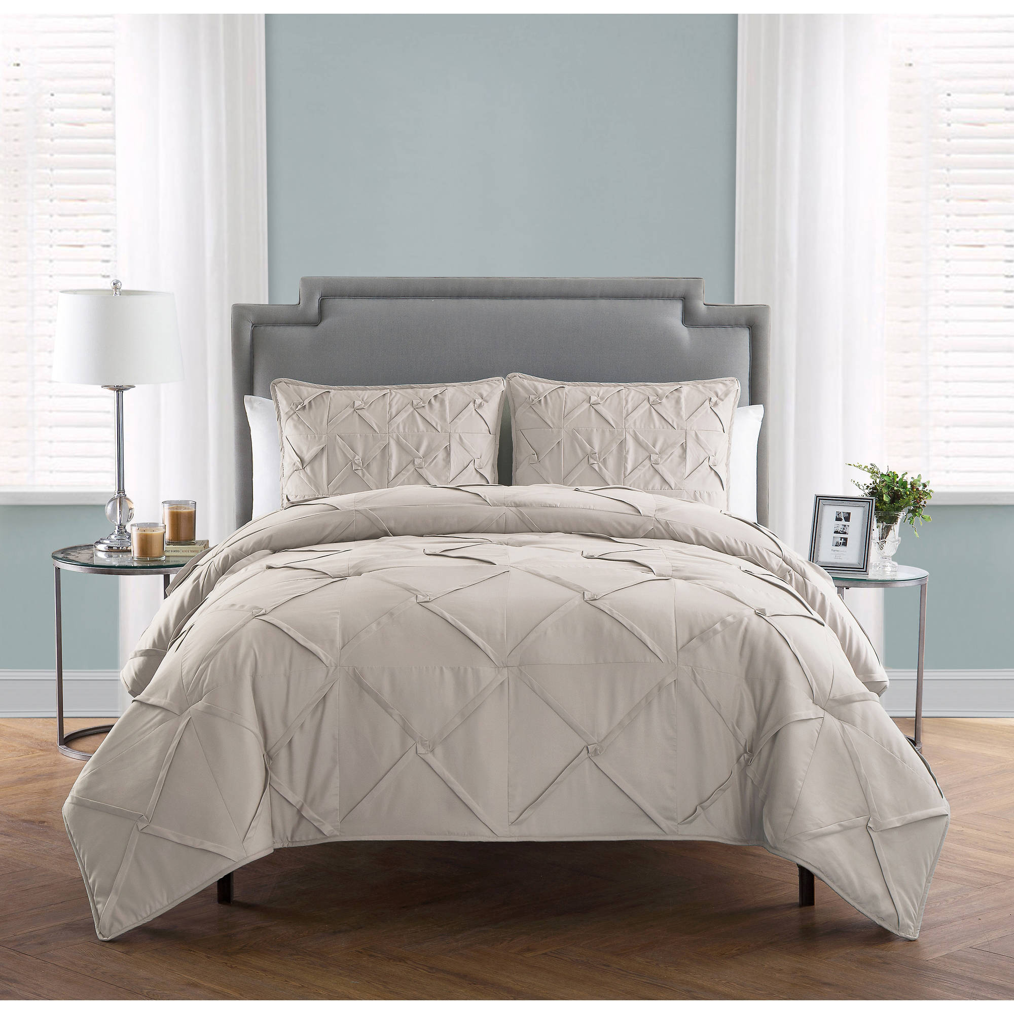 VCNY Home Solid Textured 3-Piece Julie Bedding Comforter Set, Multiple Colors and Sizes Available