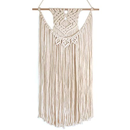 Barnyard Designs Macrame Wall Hanging Fringe Woven Tapestry Boho Chic Bohemian Decor Dipped Weave 28 X 16 1