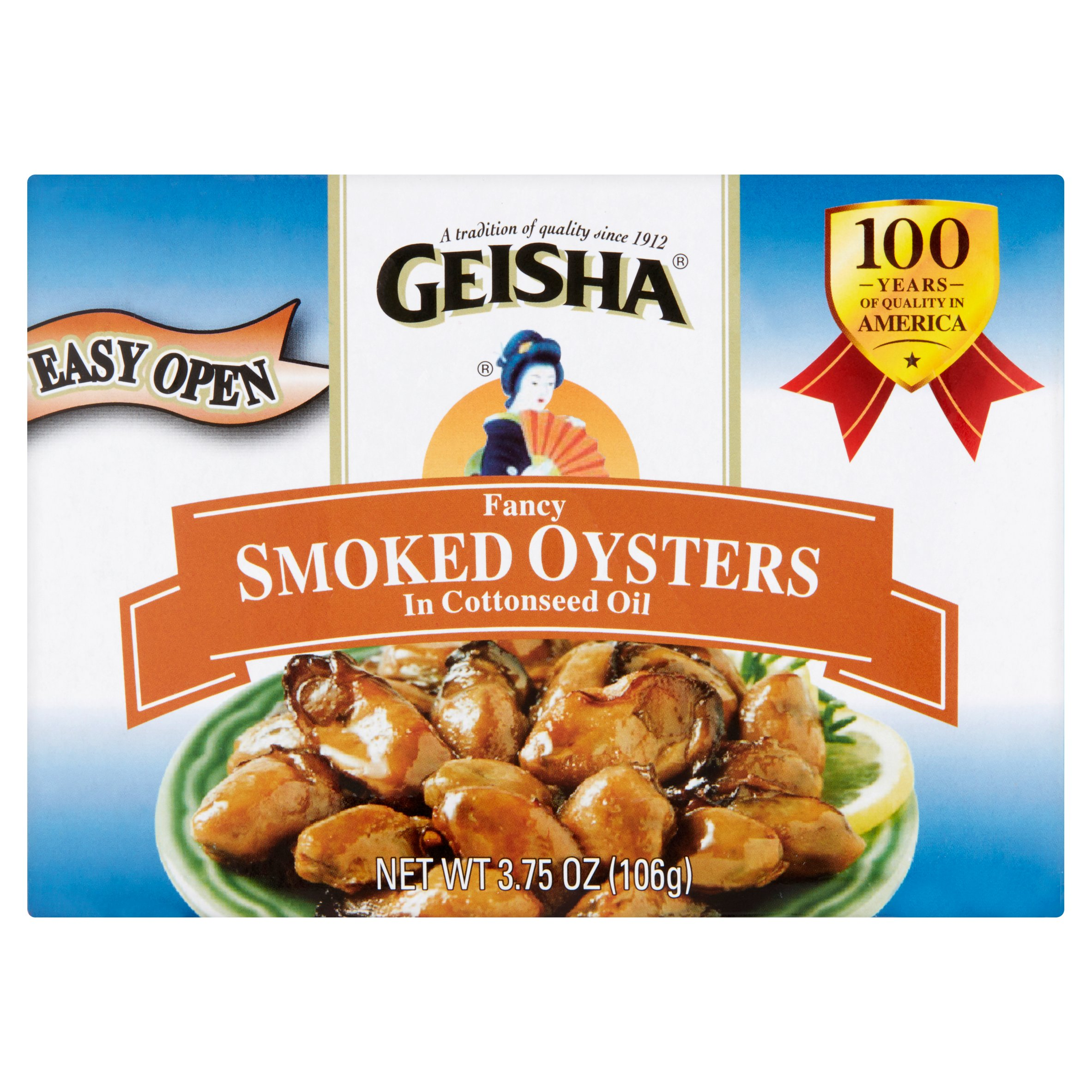 Geisha Fancy Smoked Oysters In Cottonseed Oil, 3.75 oz by Jfe Shoji Trade America, Inc.
